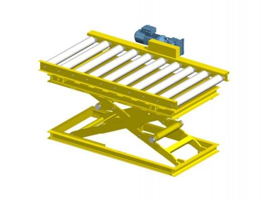 Scissor lift with roller conveyor