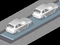 Slat conveyor: for zero relative speed