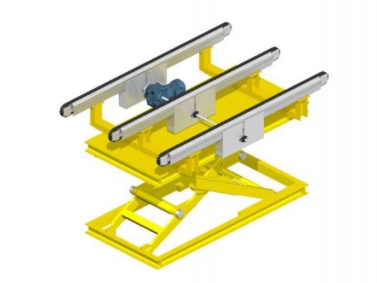 Scissor lift with chain conveyor