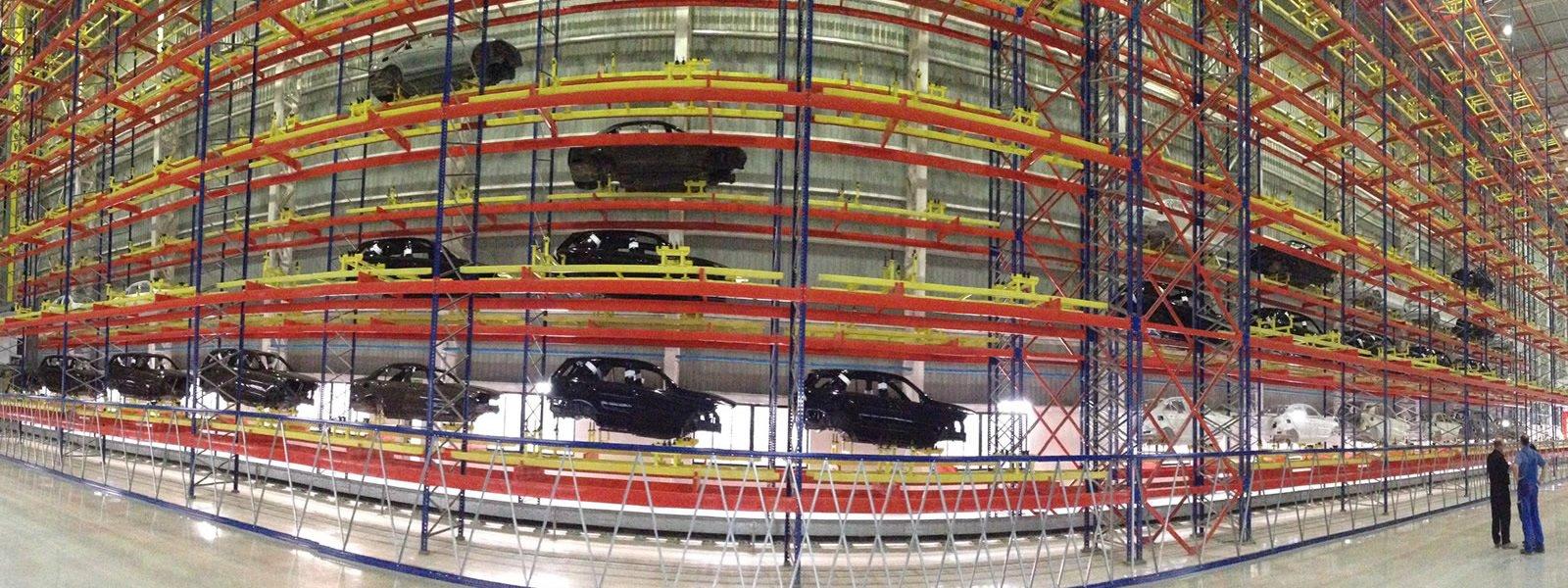 Transstockeur ATS Group, Appalette Tourtellier Systèmes, ATS Conveyors India, HERO Fördertechnik, stockage de carosseries peintes chez Mercedes Benz India