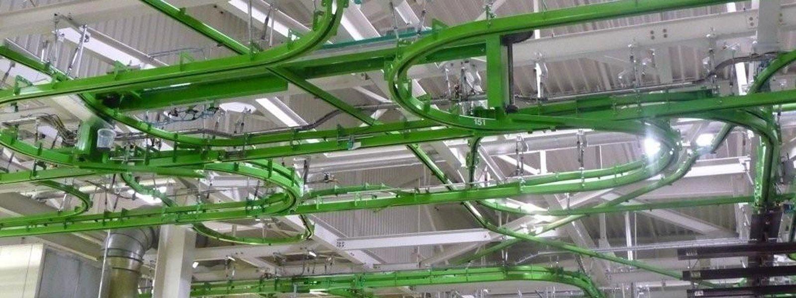 Circuit Power and Free ATS Group, Appalette Tourtellier Systèmes, ATS Conveyors India, HERO Fördertechnik dans un atelier de peinture LOV en Allemagne à Limbach